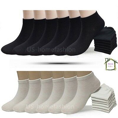New 6 12 Pairs Mens Womens Multi Color Low Cut Ankle Socks Sport Size 9-11 10-13