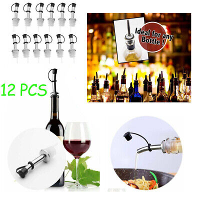 12pcs Stainless Steel Liquor Spirit Pourer Flow Wine Bottle Pour Spout Stoppers