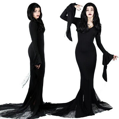 Morticia Addams Cosplay Costume The Addams Family Black Long Sexy Dress Hot Sale (Black Morticia Dress)