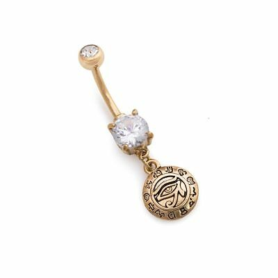 "14g 3/8"" PVD Gold Crystal Jewel Eye of Horus Dangle Belly Button Ring"
