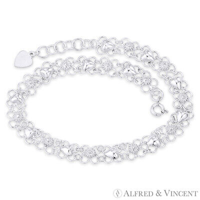Flower & Puffed Heart on 9mm Open Floral Link .925 Sterling Silver Charm Anklet 9 Mm Puffed Heart