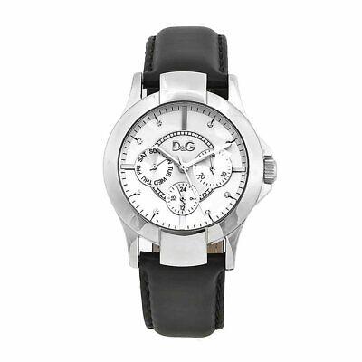 D&G Dolce & Gabbana DW0539 Texas Armbanduhr Damen, Edelstahl, Leder, Black - Neu