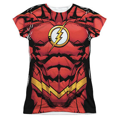 JUSTICE LEAGUE FLASH 52 COSTUME Halloween Front Women's Junior Tee Shirt SM-2XL - Women Flash Costume
