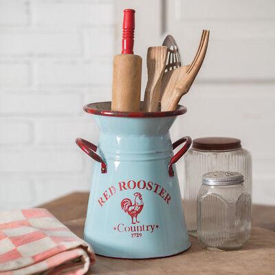 New Shabby Farmhouse Chic Retro Generation Blue RED ROOSTER Utensil Holder Bucket