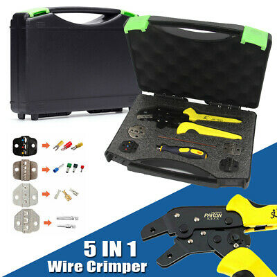 5 In 1 Wire Crimpers Ratcheting Terminal Crimping Pliers End Terminals Tool Case
