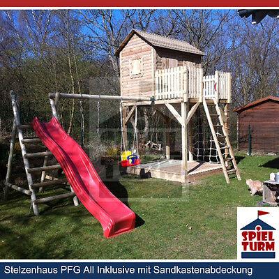 HOQ Spielturm Kinderhaus Stelzenhaus Spielhaus Baumhaus aus Holz NEU