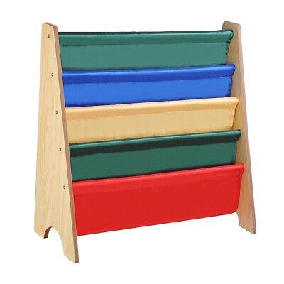 Wood Kids Bookcase Book Shelf Sling Storage Rack Organizer Display Holder