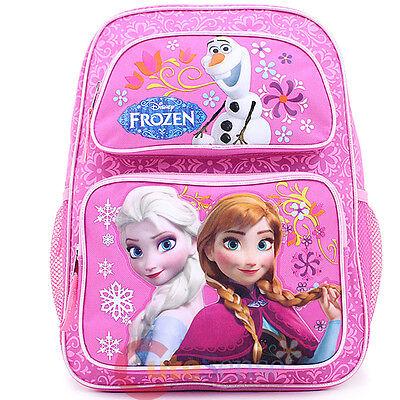 "Disney Frozen 16/"" Large School Backpack Lunch Bag 2pc Elsa Anna Snowflake Heart"