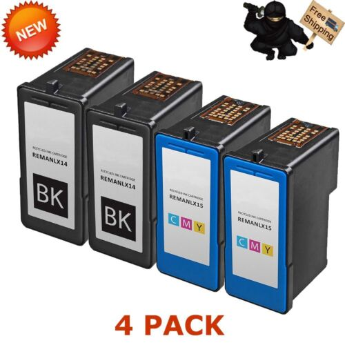 4 Pack for Lexmark 14 Black Ink Cartridge 18C2090 for Z2300 Z2320 X2600 Printer
