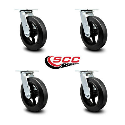 Scc 8 Rubber On Cast Iron Wheel Swivel Casters - Set Of 4