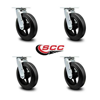 Scc 8 Rubber On Cast Iron Wheel Swivel Casters - Set Of 4
