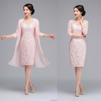 Cheap Elegant Mother Of the Bride Dresses Gowns 3/4 Sleeves Light Pink - Pink Satin Jacket Cheap