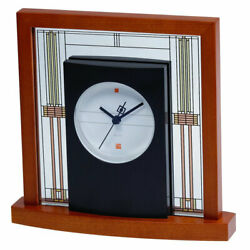 Bulova Clocks B7756 Willits Cherry Finish Glass Table Clock with Numberless Dial