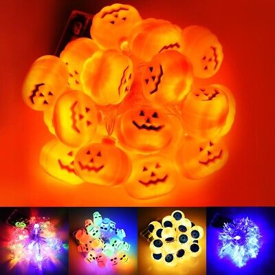 Halloween LED String Lights Decor Party Pumpkin Skull Bat Bar Eyeball 20 LEDs - Halloween Bat Lights