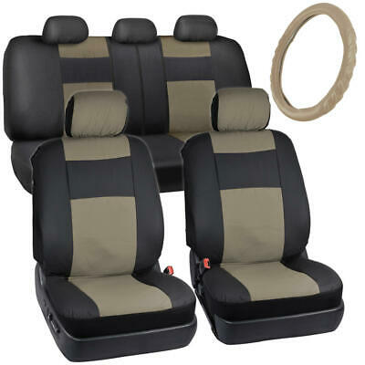 Black/Tan Faux Leather Seat Covers for Car w/ Cushion Grip Steering Wheel Cover