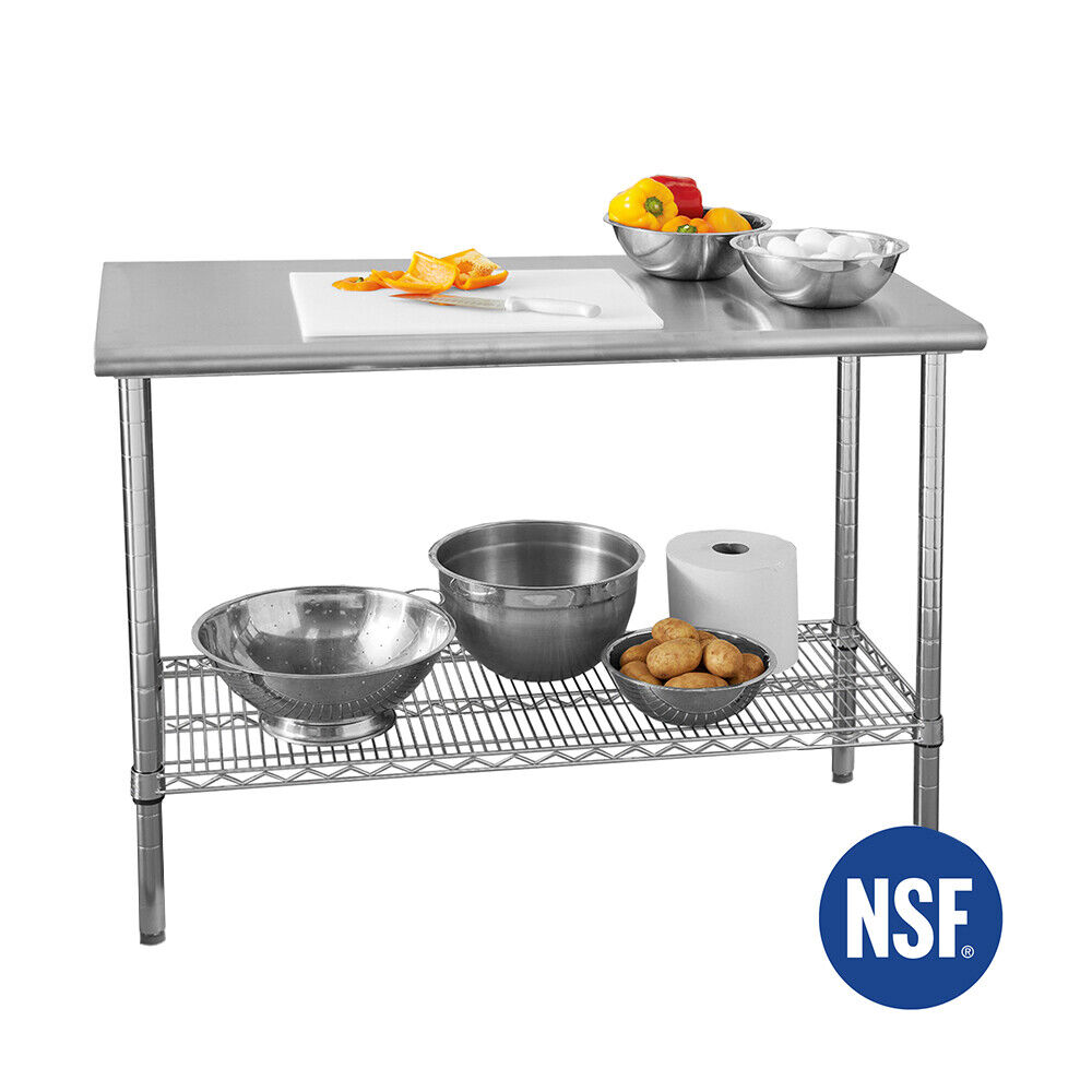 COMMERCIAL-GRADE NSF STAINLESS STEEL TOP WORKTABLE, 49″ W X 24″ D Business & Industrial