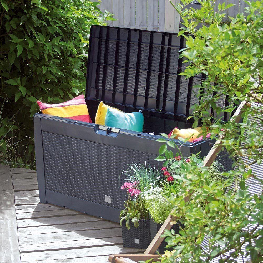Außen Garten Plastik Aufbewahrung Trage Kasten Kissen Schuppen Kiste Gartenmöbel