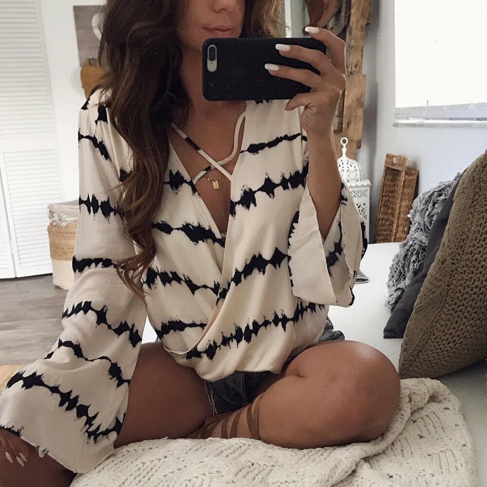 $9.99 - US Fashion Women Ladies Long Sleeve Loose Blouse Summer V Neck Casual Shirt Tops