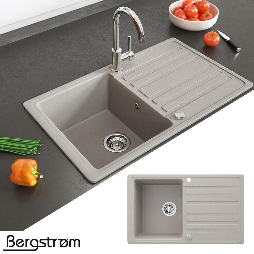 Bergström Granit Spüle Küchenspüle Einbauspüle Spülbecken 765x460mm Farbasuwahl Beige