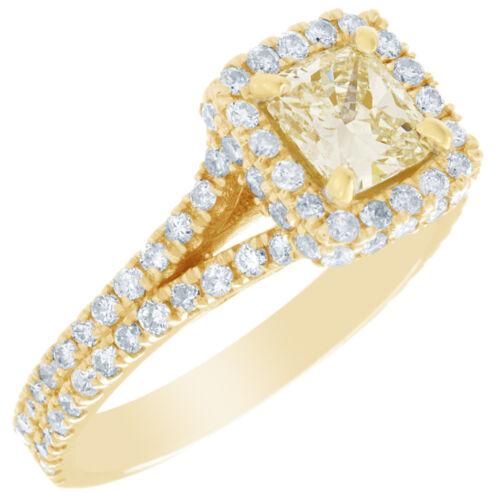 2 Carat GIA Certified Fancy Yellow Cushion Diamond Engagement halo Ring Platinum 4