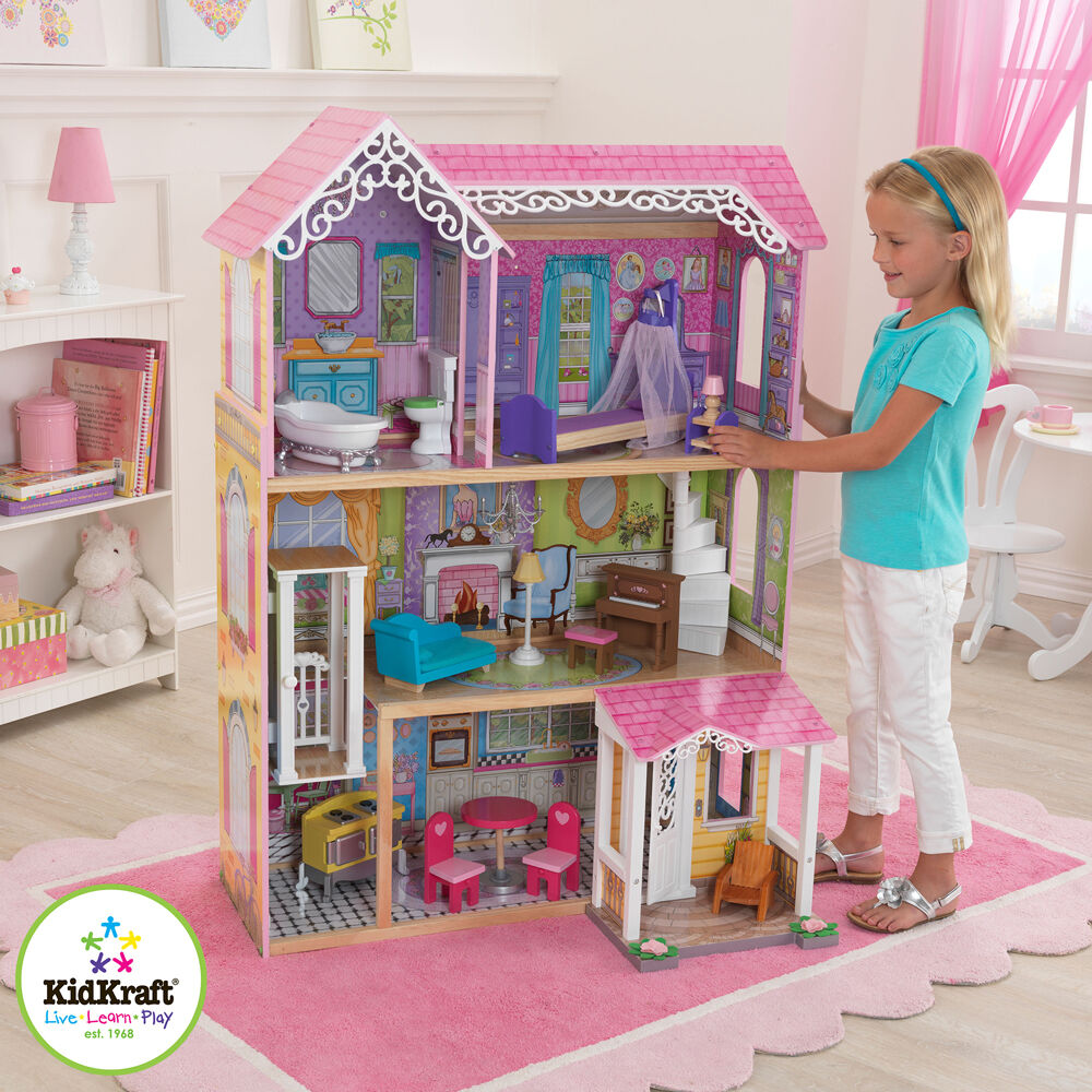 KIDKRAFT SWEET & PRETTY WOODEN KIDS DOLLS HOUSE FURNITURE
