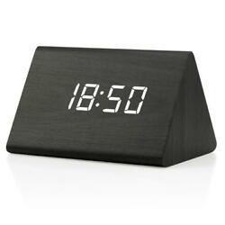 Digital Alarm Clock, Adjustable Brightness Voice Control Desk Wooden Alarm Clock