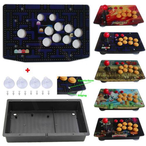 DIY Arcade Joystick Kits Parts Acrylic Artwork Panel 10 Buttons Flat Case Box