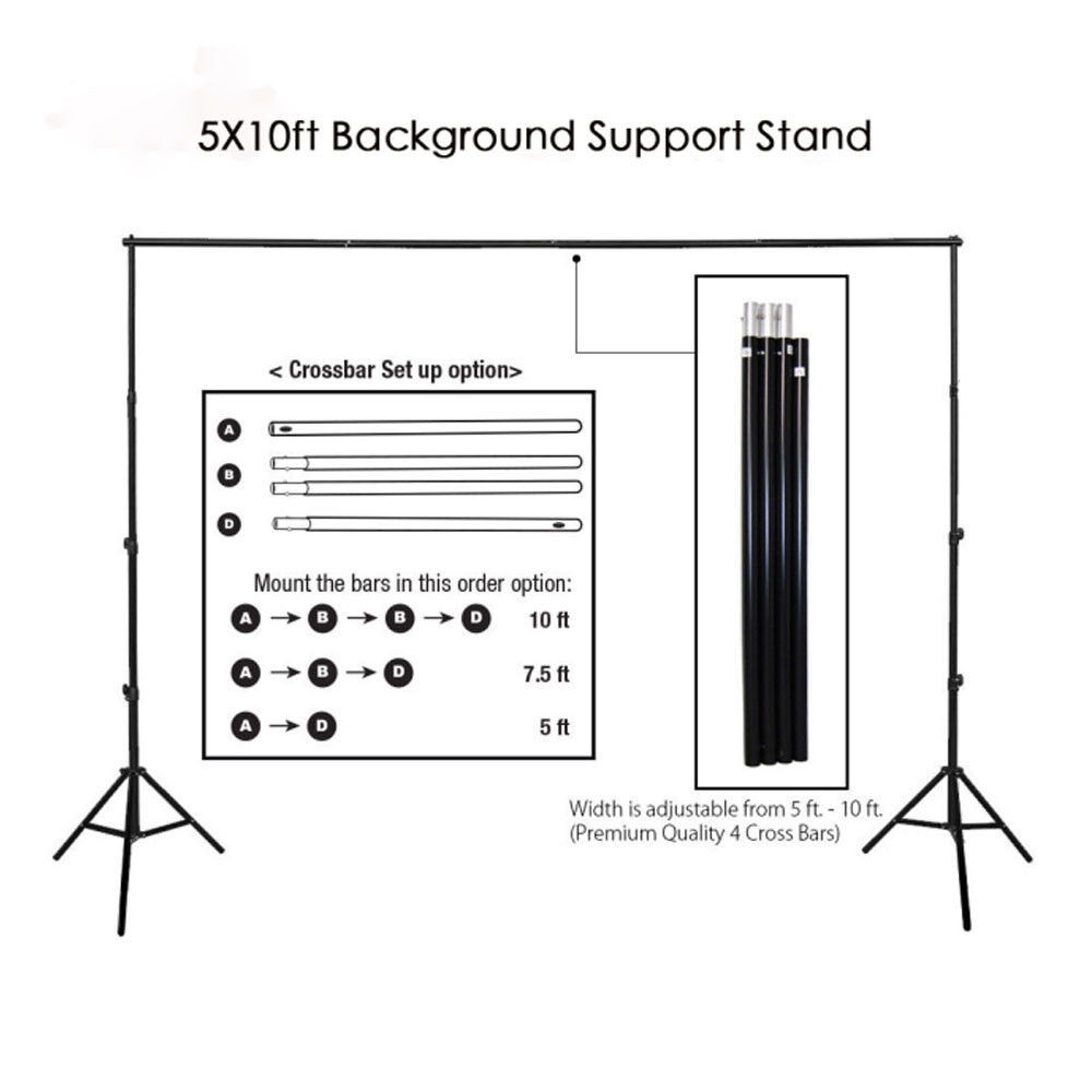 10Ft Heavy Duty Adjustable Photography Background Support Stand Kit With Case -   10 - 10Ft Heavy Duty Adjustable Photography Background Support Stand Kit With Case