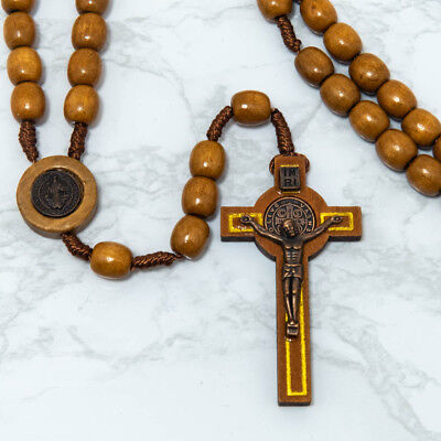 Wood Saint St. Benedict Cord Rosary 10mm Beads Large 2 1/2
