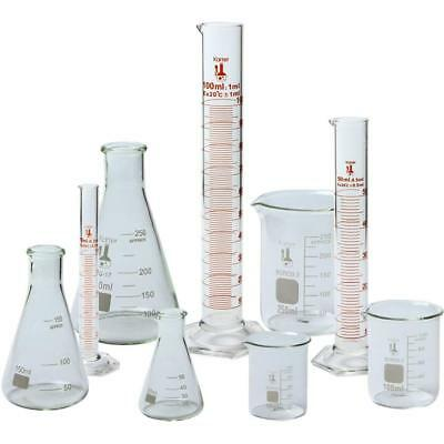 Beaker Flask And Cylinder Set 3.3 Boro. Glass - 9 Pieces Karter Scientific
