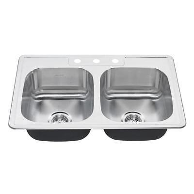 American Standard Pro Drop-In Stainless Steel 33 in. 3-Hole Double Bowl Sink  American Standard Double Bowl Sink