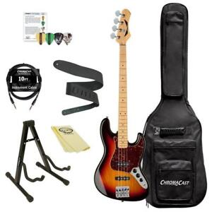 NEW Dean Guitars Juggernaut Bass Guitar Kit with ChromaCast Accessories, 3 Tone Tobacco Sunburst