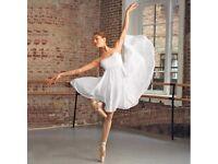 CAPEZIO WHITE EMPIRE BALLET LYRICAL DANCE DRESS - SIZE SMALL (ADULT SIZE 8-10) - BRAND NEW