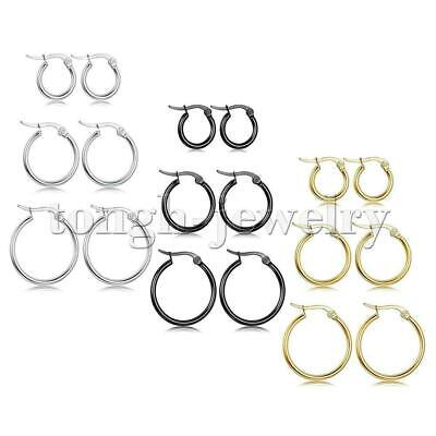 3 Pairs Stainless Steel Hoop Earrings Set Huggie Earrings for Women,10MM-20MM