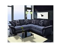 -ORDER NOW-SHANNON SOFA FABRIC And FAUX LEATHER LEFT OR RIGHT CORNER - 3+2 SEATER