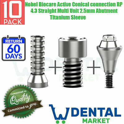 X10 Nobel Biocare Active Conical Connection Rp 4.3 Straight Multi Unit 2.5mm Abu