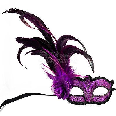 Königliches Lila Modisch Halbschuhe Feder Maskerade Maske W / Rose für Damen