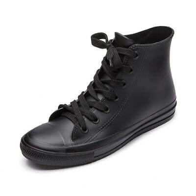 DKSUKO Women's Rain Boots Waterproof High Top Rain Shoes with Lace Up Anti-Slip