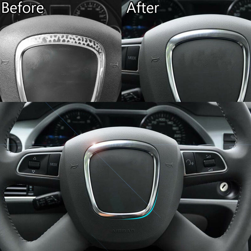 1pc Carbon Fiber Car Interior Steering Wheel Panel Cover For Mazda 3 Axela 14-16