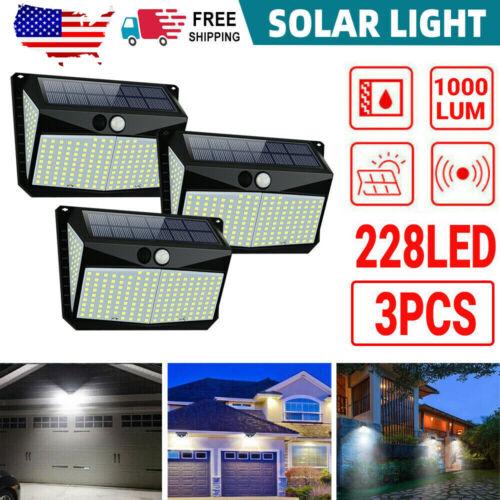 4Pcs 228 LED Motion Solar Light Sensor Wall Lights Outdoor Security Home Lamp US