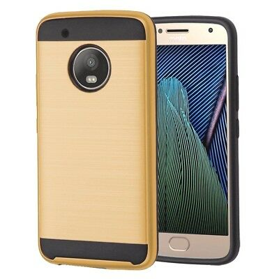 For Motorola Moto G5+ Plus - HYBRID BRUSHED SILK ARMOR PHONE CASE COVER GOLD