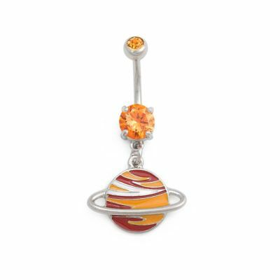 "14g 3/8"" Blazing Saturn Dangle Belly Button Ring"