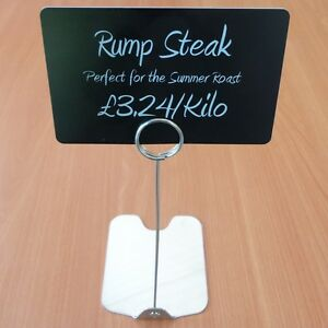 PACK 10 Price ticket holder stand for food display deli counter stainless steel