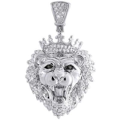 Diamond Crown Charm - Diamond Mini King Crown Lion Head Pendant .925 Sterling Silver Charm 0.36 Tcw.