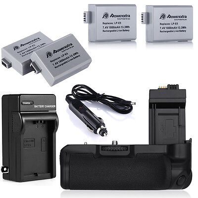 Bg-e5 Battery Grip + 4x Lp-e5 Batteries + Charger For Can...