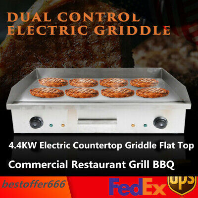 4.4kw Electric Countertop Griddle Flat Top Commercial Restaurant Grill Bbq 110v