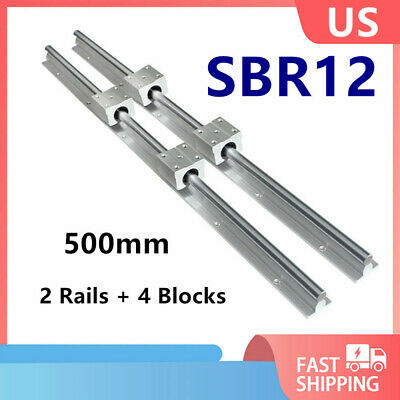 2x Sbr12 Linear Slide Rail Guide Shaft Rod 500mm 4x Sbr12uu Bearing Block Cnc