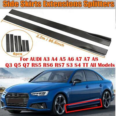 86.6'' Carbon Fiber Look Side Skirts Extension For Audi A3 A4 A5 A6 A8 Q3 Q7 RS5