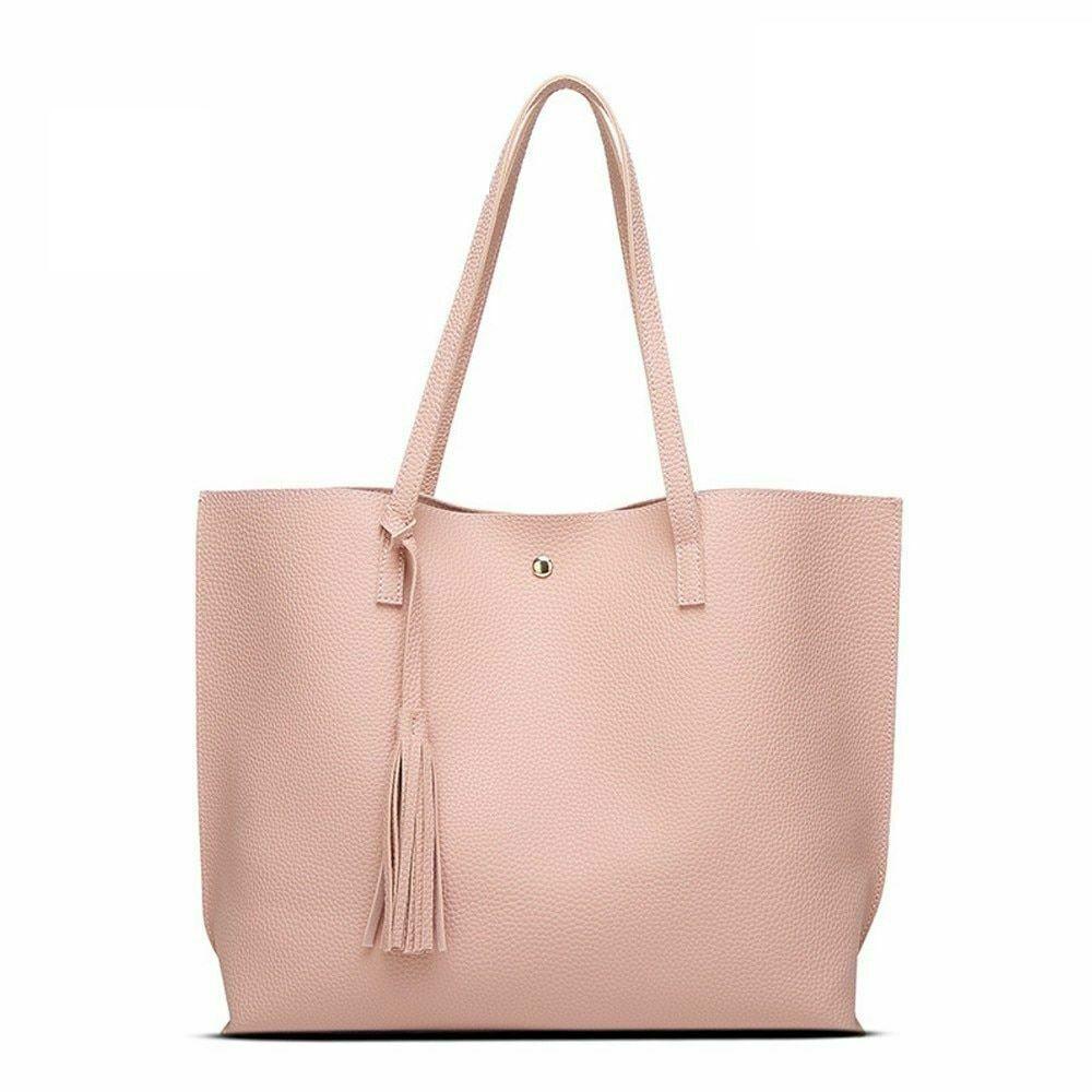 Tassel Tote Handbags Large Shoulder Bags Slot Pocket Hasp Ba