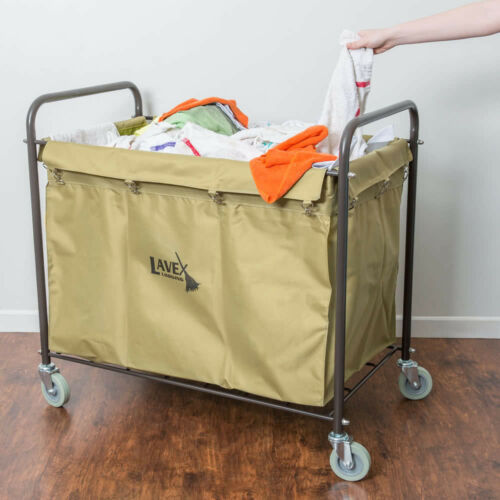 Laundry Cart / Trash Cart, 12 Bushel Metal and Canvas Cart with Handles